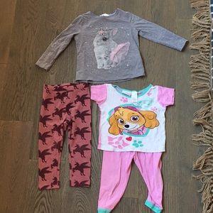 Girls 2t bundle pajamas, shirt and leggings